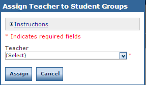assign teacher to student groups window
